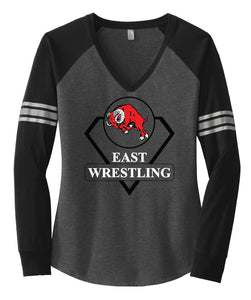 Ladies Wrestling Long Sleeve V-Neck Tee