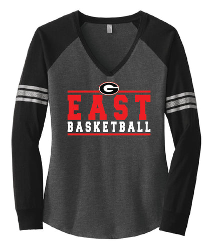 Women's Basketball Long Sleeve V-Neck Tee