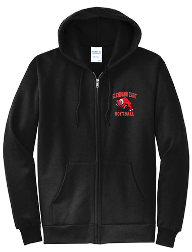 Softball Zip Up Hoodie