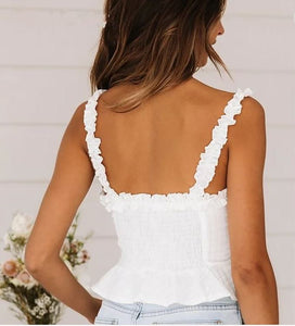 White lace up cami top
