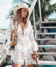 Load image into Gallery viewer, Aurora White Lace Beach Tunic Dress