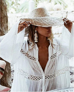 Savannah Bohemian White Beach Tunic Dress