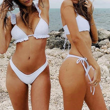 Load image into Gallery viewer, Eliza White Ruffle Shoulder Bikini Set