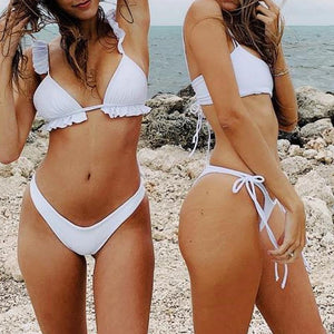 Eliza White Ruffle Shoulder Bikini Set
