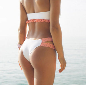 White and peach bikini set