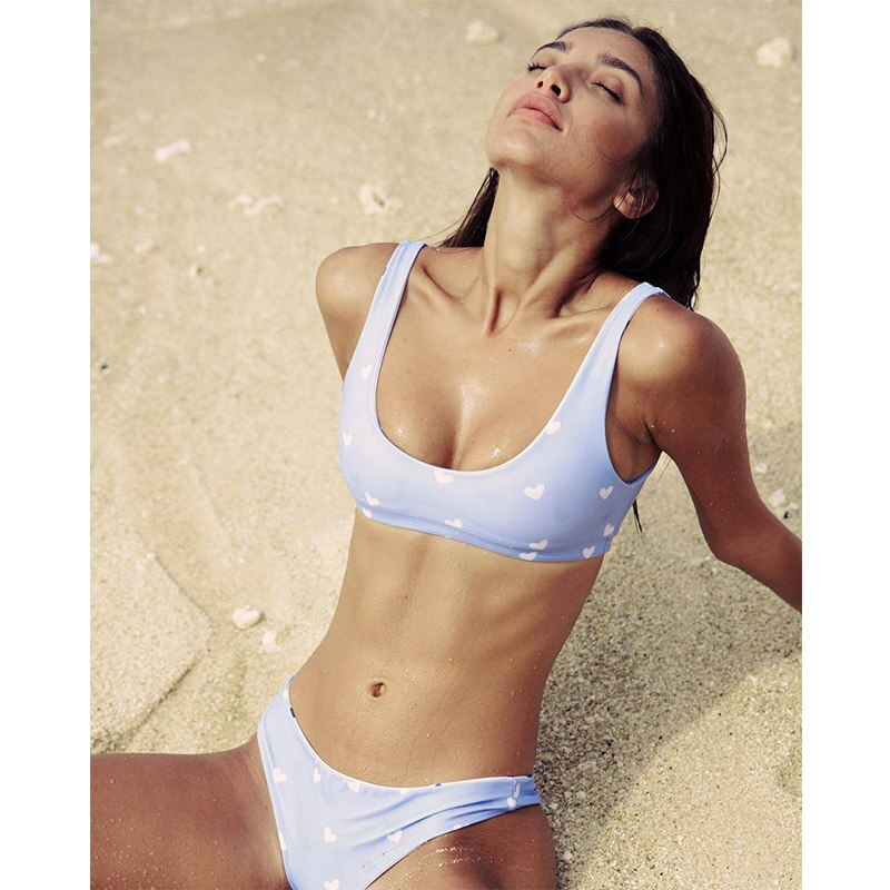 Pale blue bikini set with printed love hearts