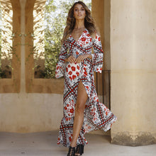 Load image into Gallery viewer, patterned boho maxi dress with split leg