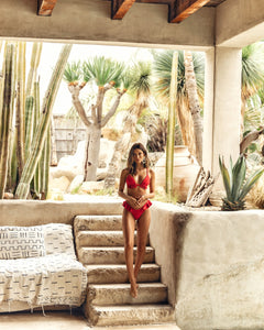 Red ruffled bikini set
