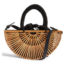Load image into Gallery viewer, Natural and black bamboo style bag