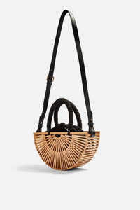 Natural and black bamboo style bag