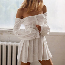 Load image into Gallery viewer, white off shoulder mini dress