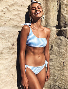 One shoulder blue and white stripe bikini