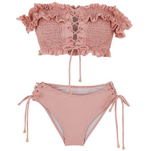 Load image into Gallery viewer, Rose Ruched Off Shoulder Bikini