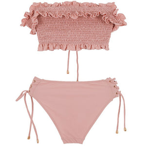 Rose Ruched Off Shoulder Bikini