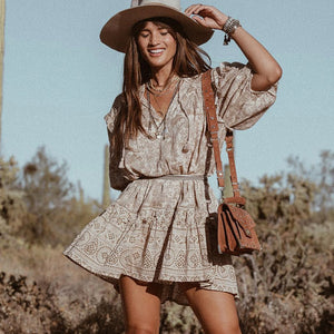 Printed boho tunic dress