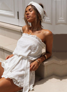 White strapless beach romper