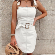 Load image into Gallery viewer, White denim mini dress