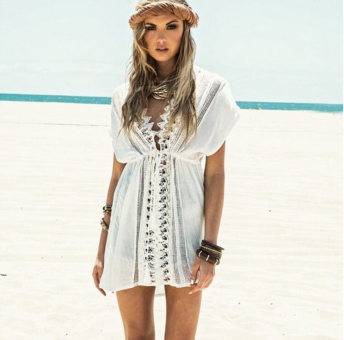 Aria White Boho Beach Cover Up with Crochet Detail - Peachy Cola