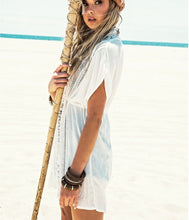 Load image into Gallery viewer, Aria White Boho Beach Cover Up with Crochet Detail - Peachy Cola