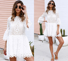 Load image into Gallery viewer, White crochet sun dress