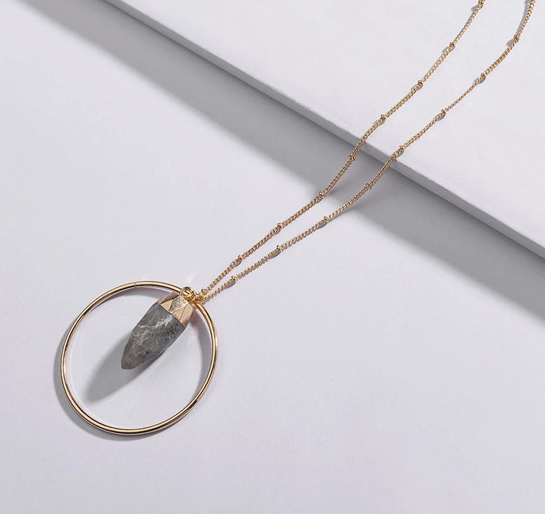 Hoop and stone pendant necklace