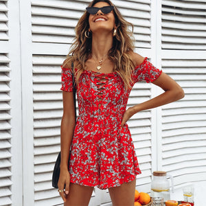 Red ditsy print floral playsuit