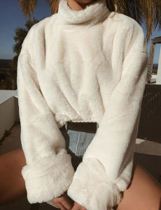 Janey Faux Fur Cream Sweater