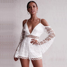 Load image into Gallery viewer, White crochet lace playsuit