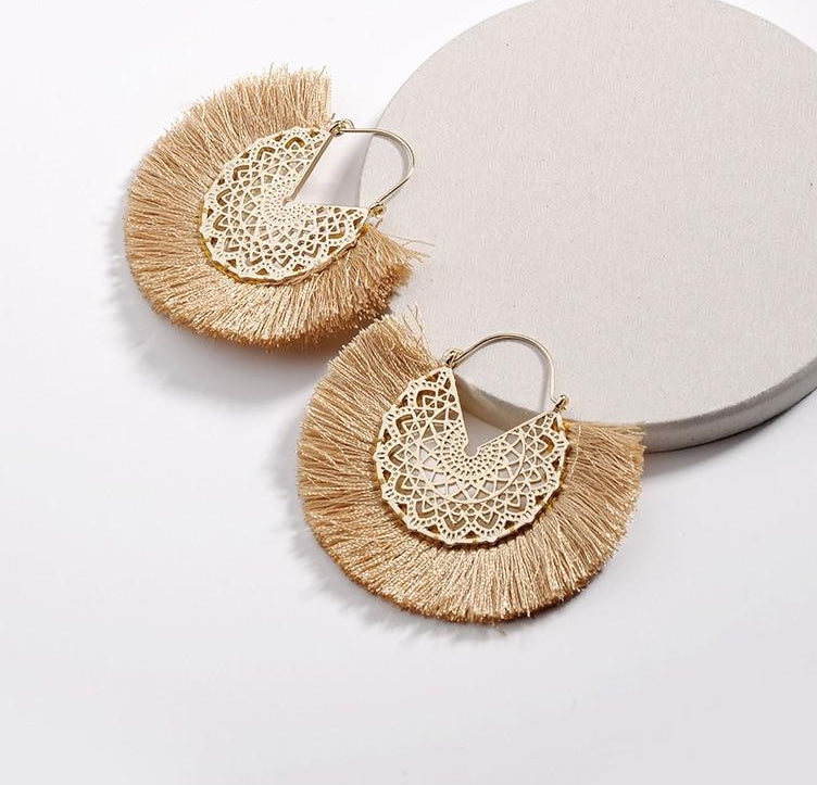 Boho Fringed Hoop Earrings - Peachy Cola