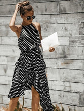 Load image into Gallery viewer, Polka dot midi dress in black and white