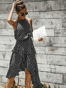 Polka dot midi dress in black and white