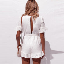 Load image into Gallery viewer, White embroidered playsuit