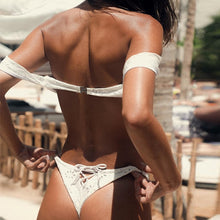 Load image into Gallery viewer, White off the shoulder bikini thong set