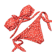 Load image into Gallery viewer, Coral orange polka dot bikini set