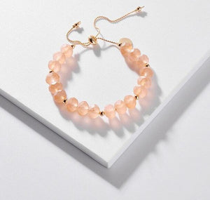 Translucent Glass Crystal Bracelet - Peachy Cola