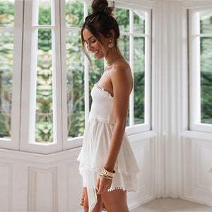 White shirred bandeau playsuit