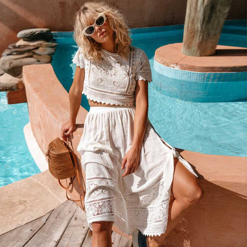 White embroidered two piece skirt and top set