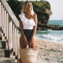 Load image into Gallery viewer, Black and white polka dot swimsuit