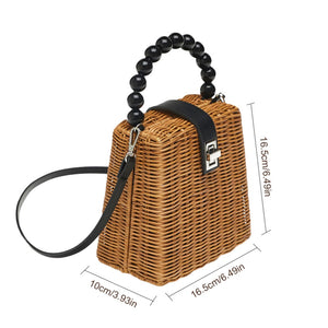 Black Bead Handle Box Bag - Peachy Cola