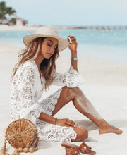 Load image into Gallery viewer, Aurora White Lace Beach Tunic Dress - Peachy Cola