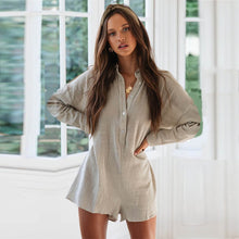 Load image into Gallery viewer, Beige playsuit with buttons and long sleeves