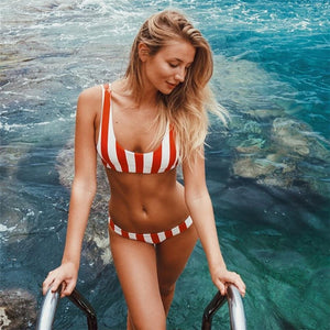 Ariel Stripe Bikini Set - Peachy Cola