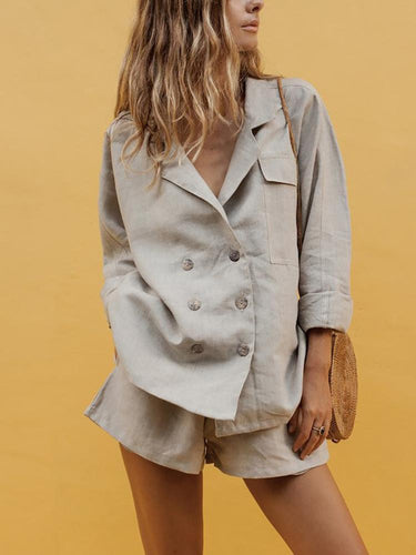 Beige shirt and shorts set