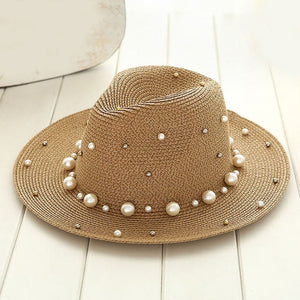 Studded Pearl Straw Hat - Peachy Cola