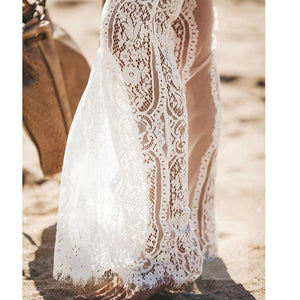 white lace beach trousers