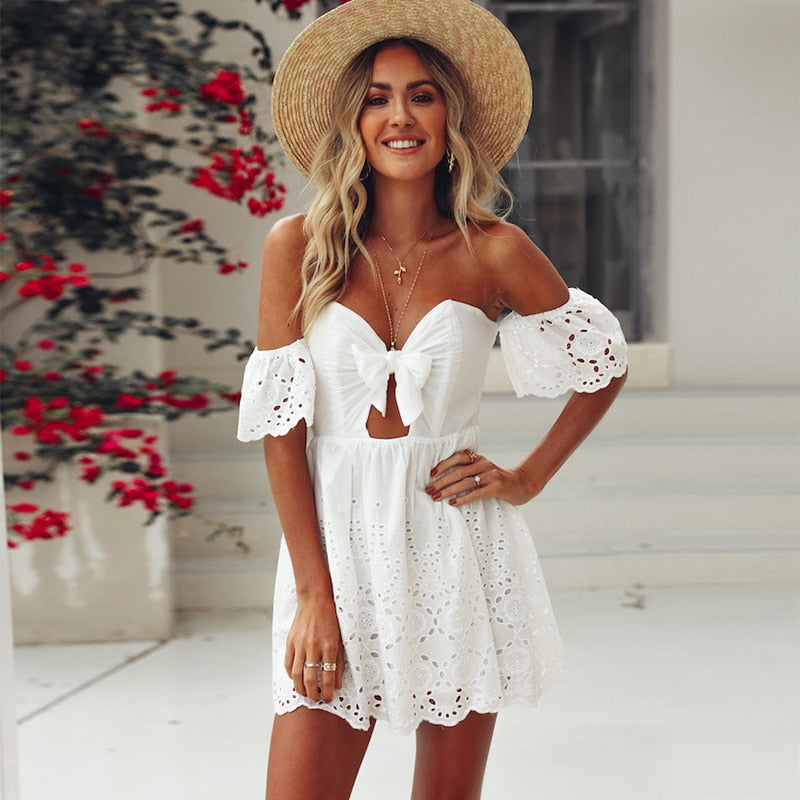 White broderie anglaise off shoulder sun dress