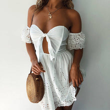 Load image into Gallery viewer, White broderie anglaise off shoulder sun dress