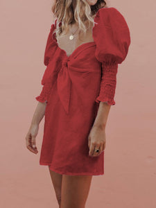 Red puff sleeve mini dress