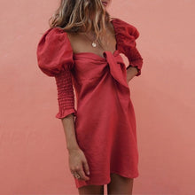 Load image into Gallery viewer,  Red puff sleeve mini dress