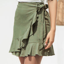 Load image into Gallery viewer, Green ruffled mini skirt